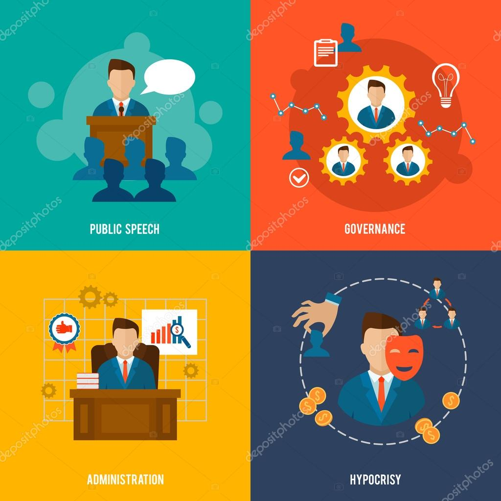Executive icons flat