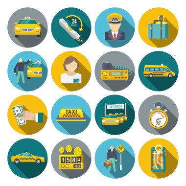 Taxi icons flat set