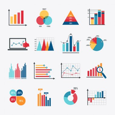 Business data market elements dot bar pie charts diagrams and graphs flat icons set isolated vector illustration. stock vector