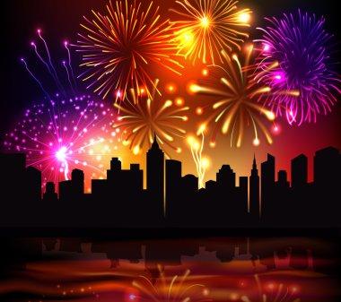 Fireworks City Background