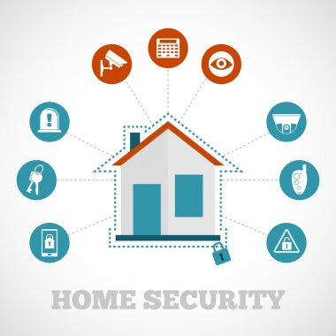 Home security concept with flat building protection icons set vector illustration stock vector