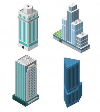 Skyscrapers 3d isometric office buildings business apartment set isolated vector illustration stock vector