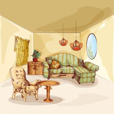 """Картина, постер, плакат, фотообои """"эскиз интерьера гостиной зеркало раме настенное круглые прямоугольные настенные"""", артикул 62207805"""