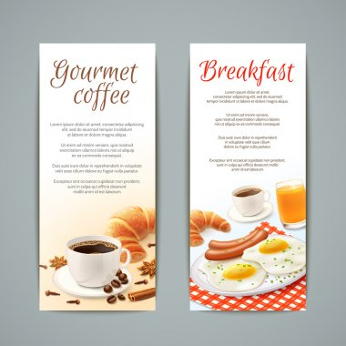 Breakfast food vertical banners set with coffee cup croissant fried eggs and orange juice isolated vector illustration stock vector