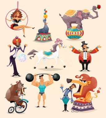 Circus performance decorative icons set with athlete animals magician vector illustration stock vector