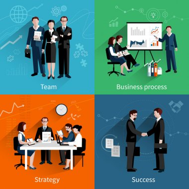 Teamwork design concept set with team business process strategy and success flat icons set vector illustration stock vector