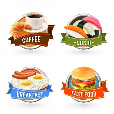Breakfast labels set with coffee sushi fried egg fast food hamburger isolated vector illustration stock vector