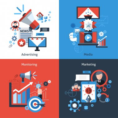 Advertising marketing design concept set with media monitoring flat icons isolated vector illustration clip art vector