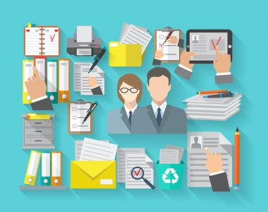 Documentation concept with office workers and archive organizing flat icons set vector illustration stock vector