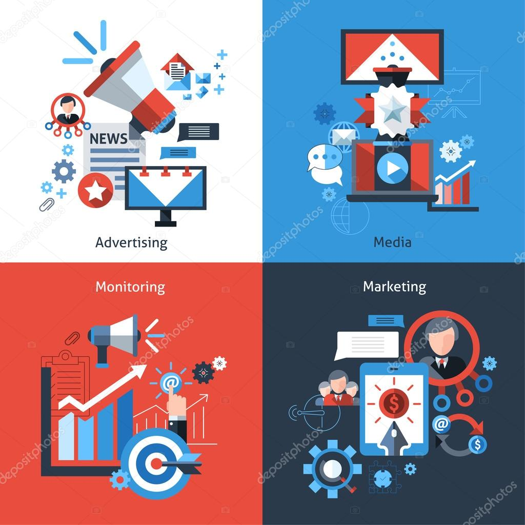 Advertising marketing design concept set with media monitoring flat icons isolated vector illustration clipart vector