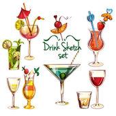 Fotografia Insieme di abbozzo di Cocktail