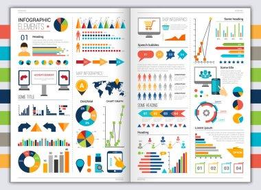 Flat infographic set