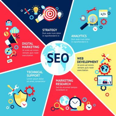 Seo infographic set with strategy analytics technical support web development symbols vector illustration clip art vector