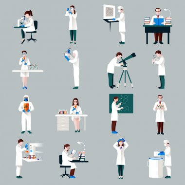 Scientists characters set with male and female people in laboratory isolated vector illustration stock vector