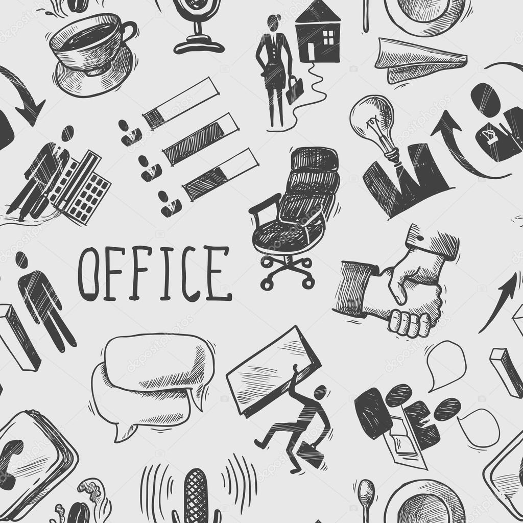Office sketch seamless pattern