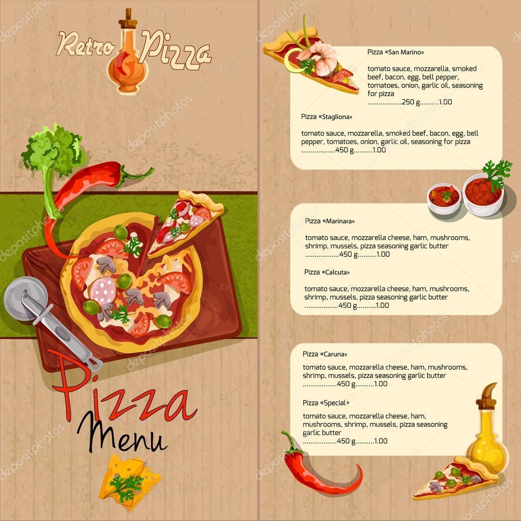 Menú del restaurante Pizza — Vector de stock © macrovector #63750095