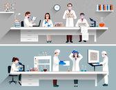 Vědci v laboratoři koncepce