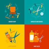 Barber shop flat icons composition