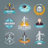 Fotografie Law labels icons set