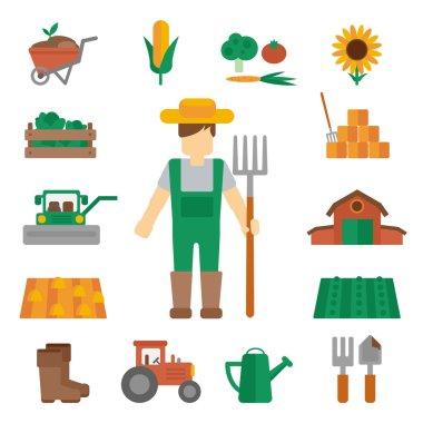 Farmer land icons flat