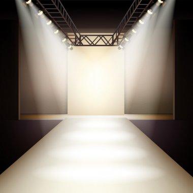 Empty fashion runway podium stage interior realistic background vector illustration stock vector