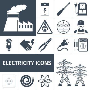 Electricity Icons Black Set