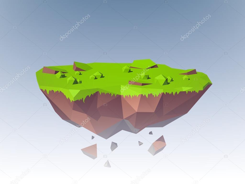 Ile Volante l'île volante polygonale — image vectorielle macrovector © #64854435