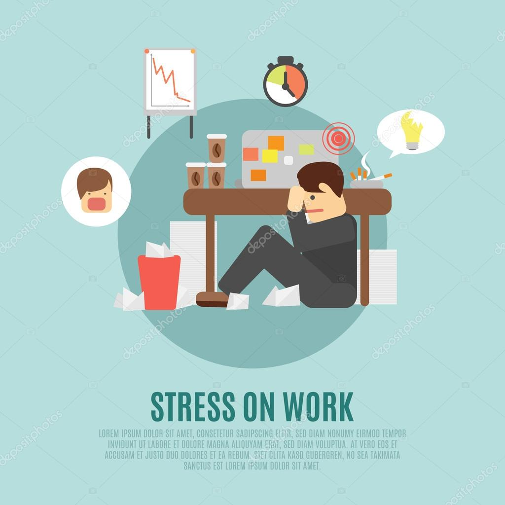 Stress on work flat icon stock vector macrovector for Stress travail
