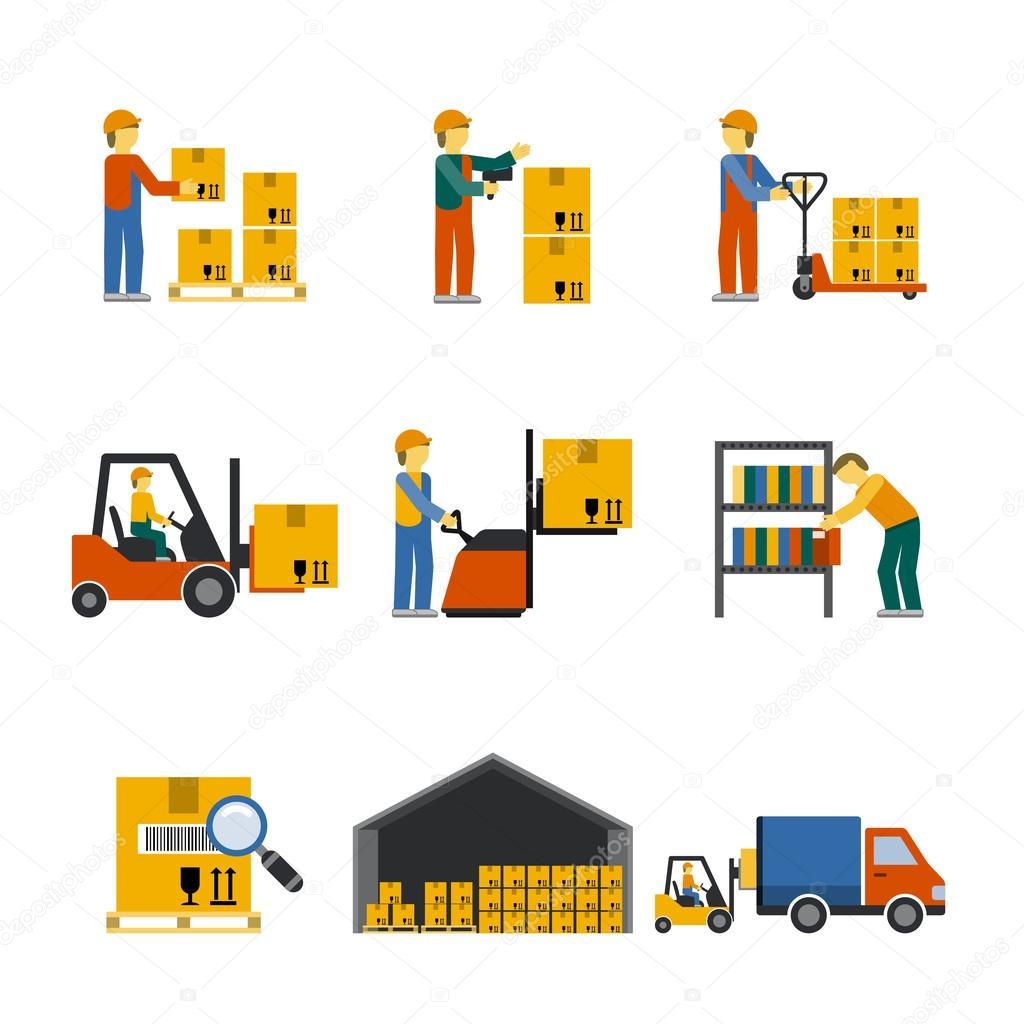 Warehouse Icon Flat — Stock Vector © macrovector #64856287