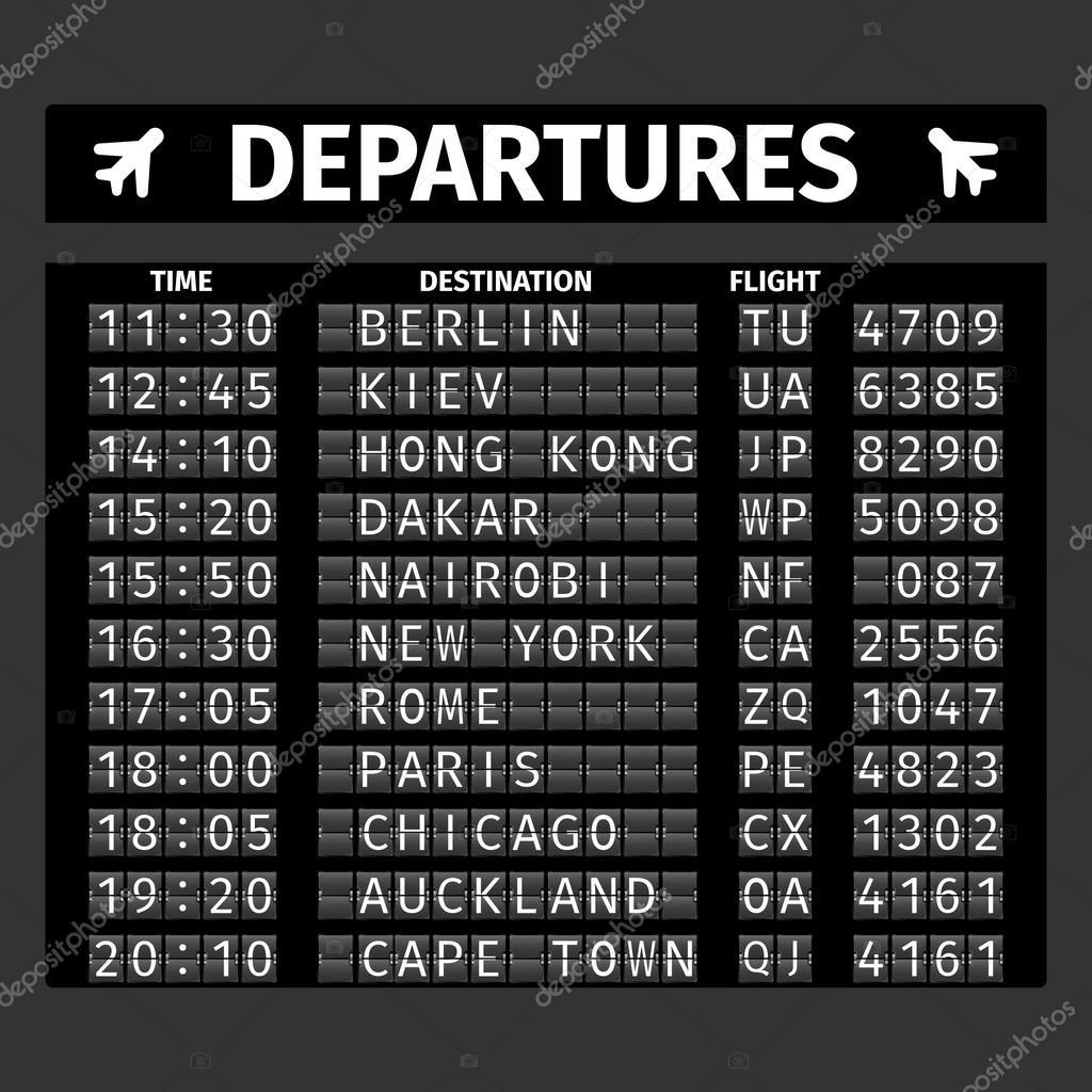 Airport Departure Board Stock Vector Macrovector 64856311