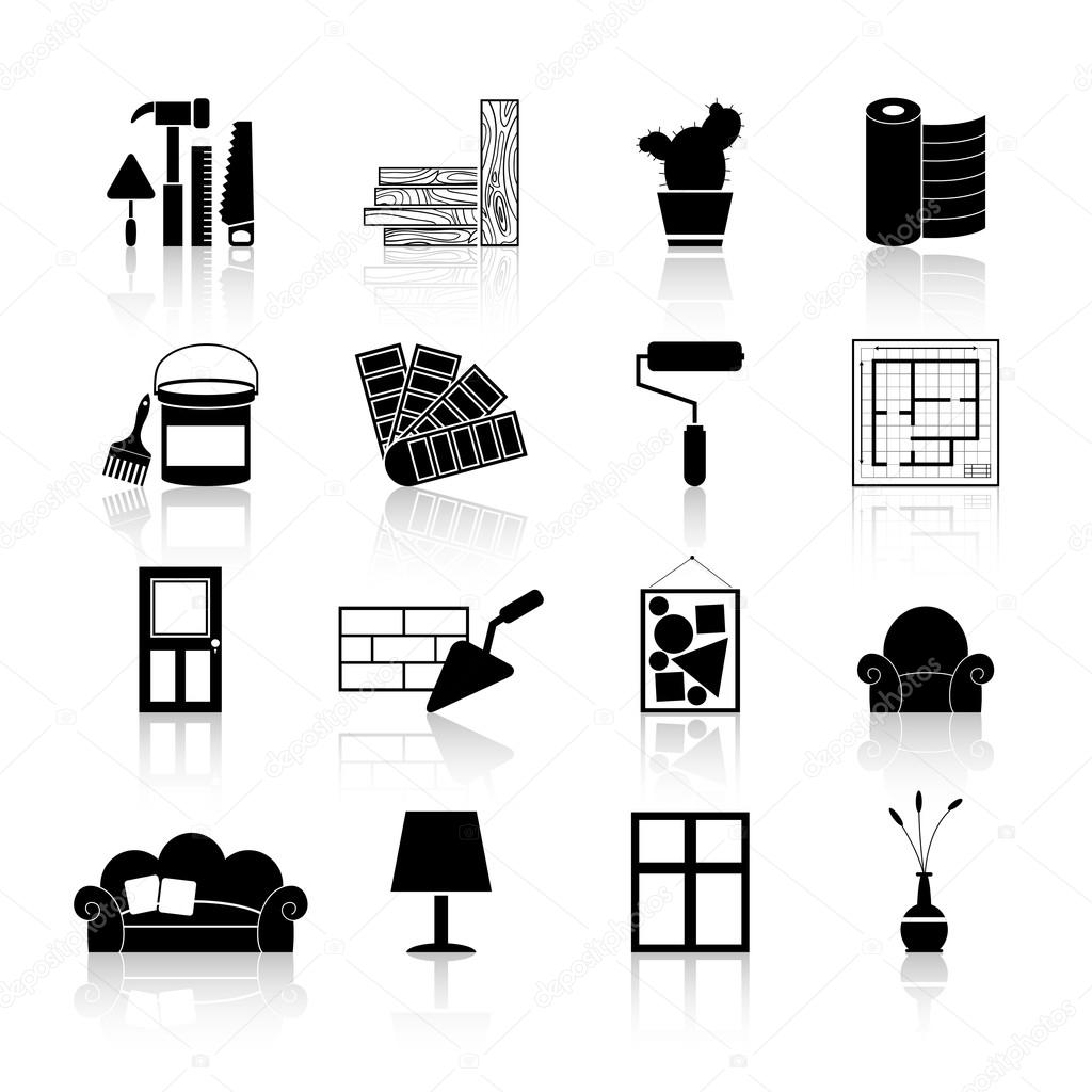 Interior design icons black stock vector macrovector for Interior design images vector