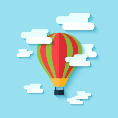 Traditional old drop shape multi colored hot air balloon floating in the clouded sky abstract vector illustration clip art vector