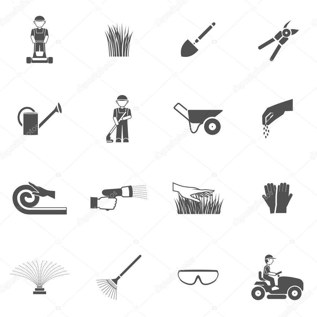 Lawn Man Icon Set