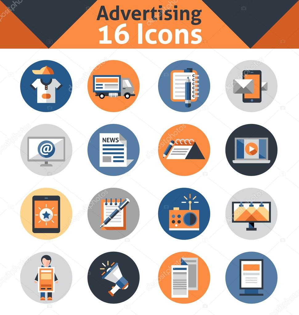 Advertising media support marketing and promotion icons set isolated vector illustration clipart vector