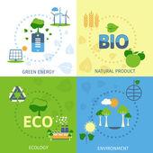 Ekologie 4 ploché ikony složení