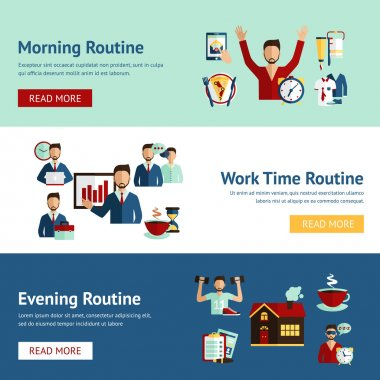 Businessman daily routine concept banners