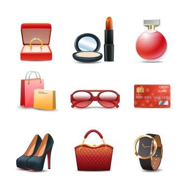 Women Shopping Icon Set
