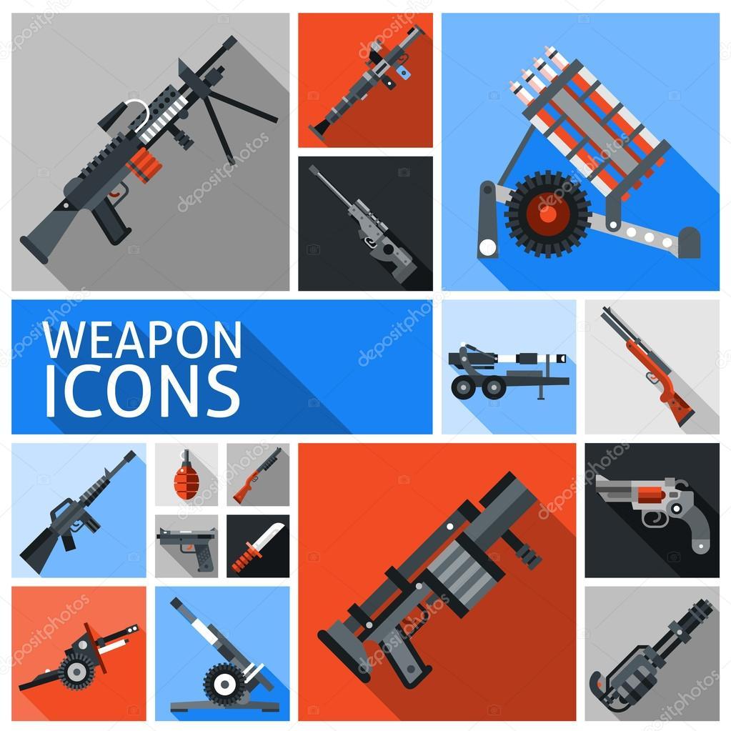 Набор значков оружия — Векторное изображение © macrovector ...