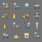 Fotografie Parkplatz-Ausstattung flache Symbole Graphit Hintergrund