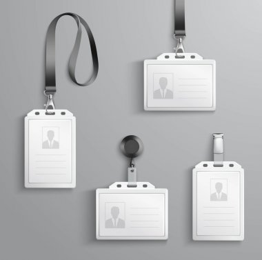 Identification white blank plastic id cards set with clasp and lanyards isolated vector illustration stock vector