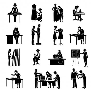 Dressmaker black icons set with tailor and fashion designer with customers isolated vector illustration clip art vector