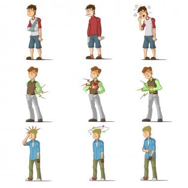 Medicine disease man flat characters set with influenza sneezing nosebleed illness isolated vector illustration stock vector