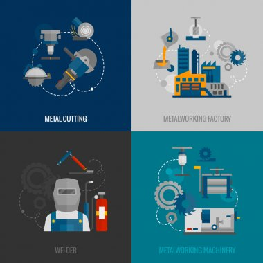 Metalworking factory 4 flat icons