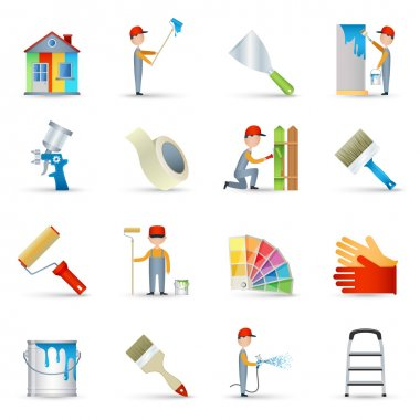 Painter icons set flat