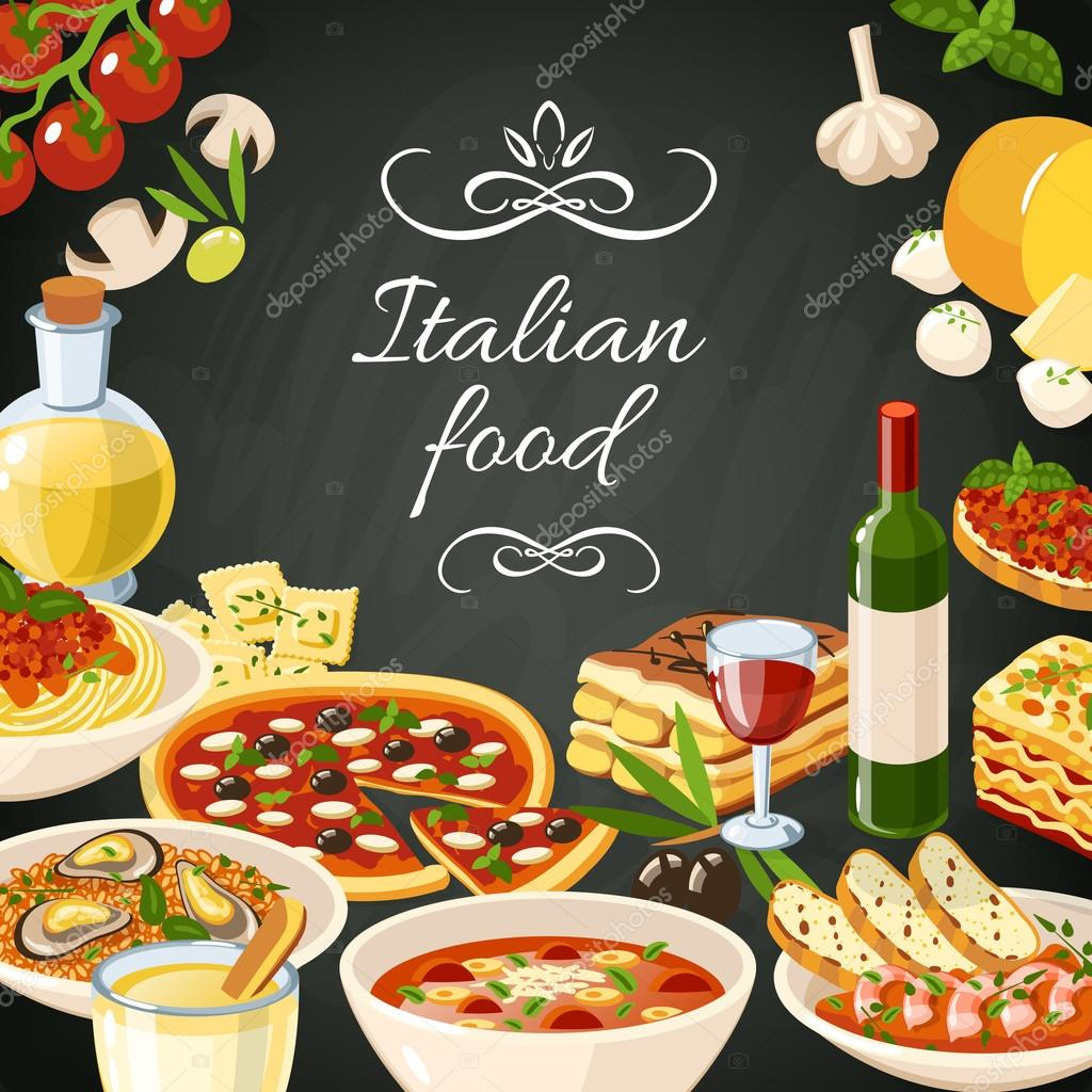 Ilustraci n de comida italiana vector de stock for Stock cuisine saint priest