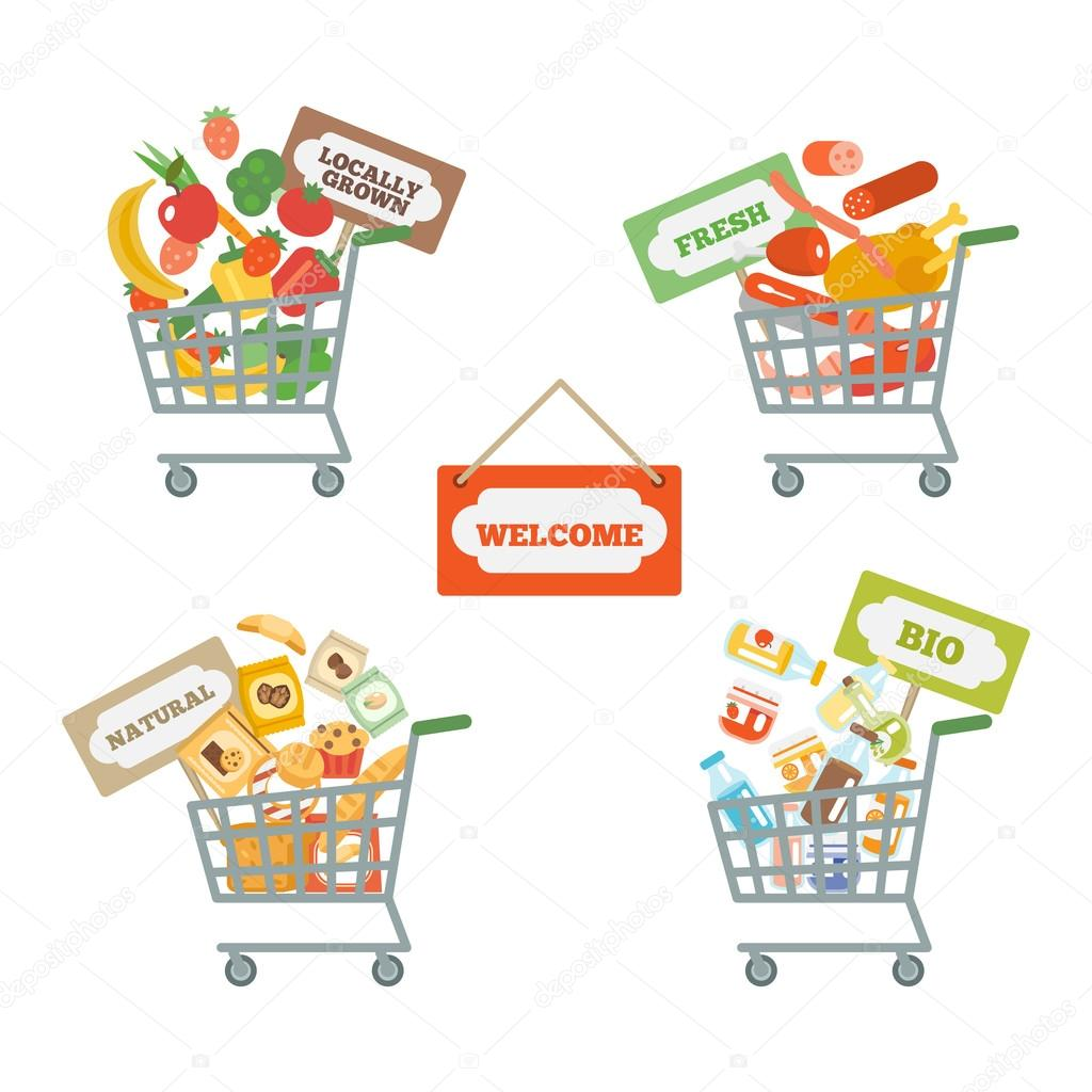 Supermarket Cart With Food