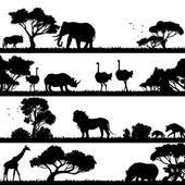 Africká krajina silueta