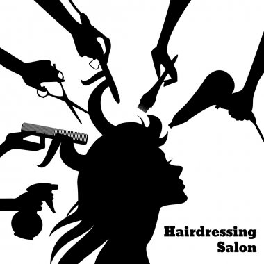 Beauty salon concept with female profile silhouette and hairdresser hands with accessories vector illustration clip art vector