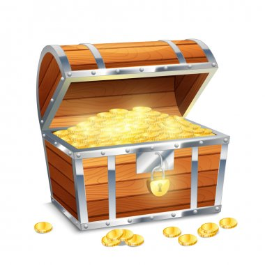 Realistic old style pirate treasure chest with golden coins isolated on white background vector illustration stock vector