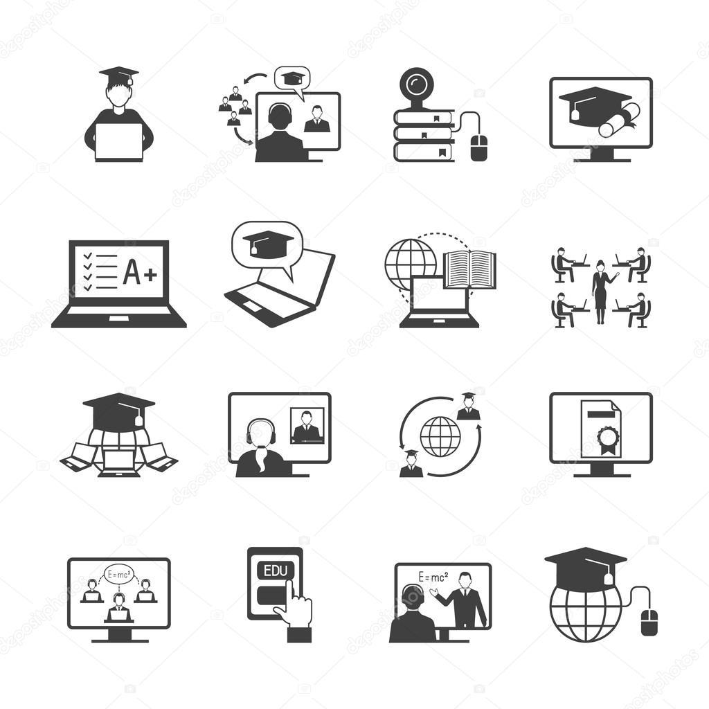 온라인 교육 아이콘 — 스톡 벡터 © macrovector #70842069